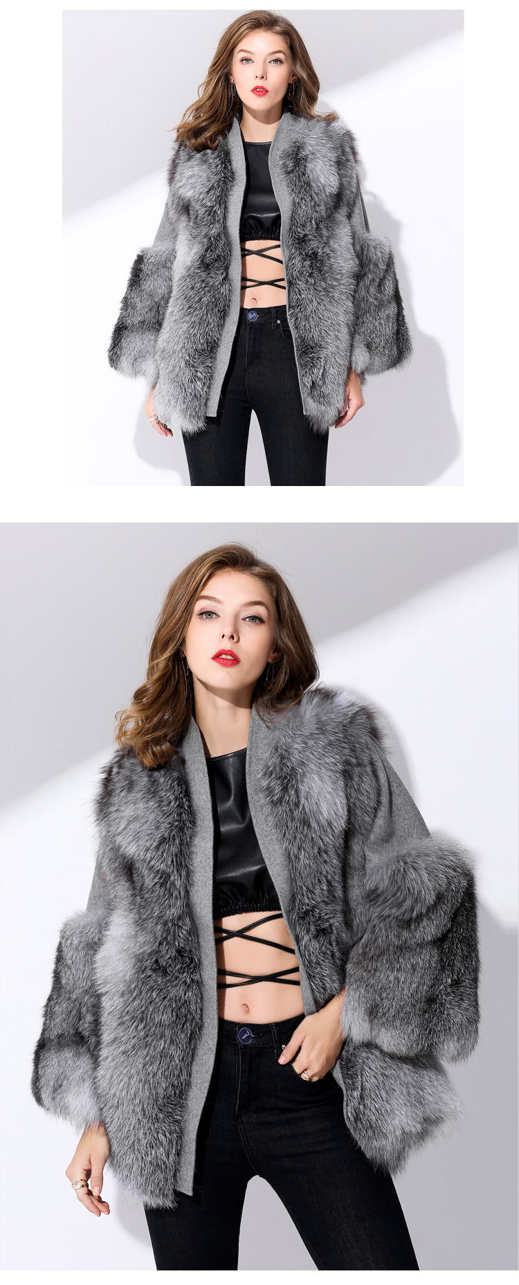 Fox Fur Coat with Double-Sided Wool Trim 991c Details 4