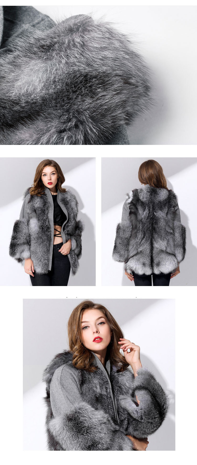 384aea0ccd41 Fox Fur Coat with Double-Sided Wool Trim 991c Details 5