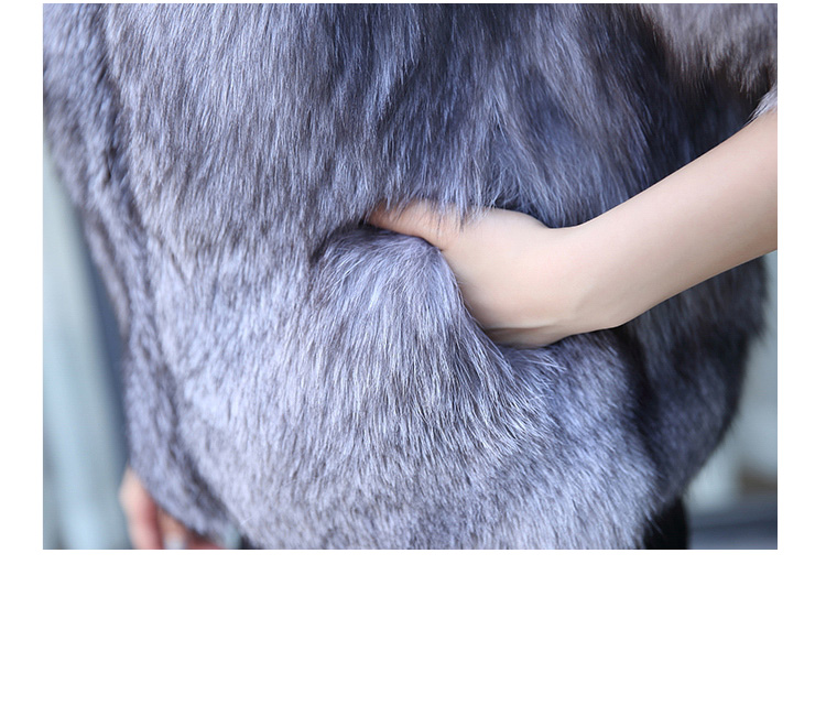 Silver Blue Fox Fur Jacket 992 details1
