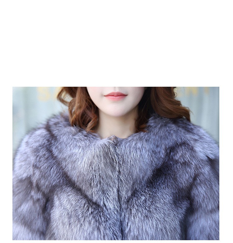 Silver Blue Fox Fur Jacket 992 details2
