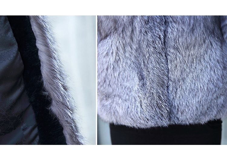 Silver Blue Fox Fur Jacket 992 details3