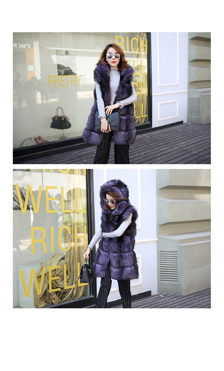 Hooded Fox Fur Vest 994 Details 2