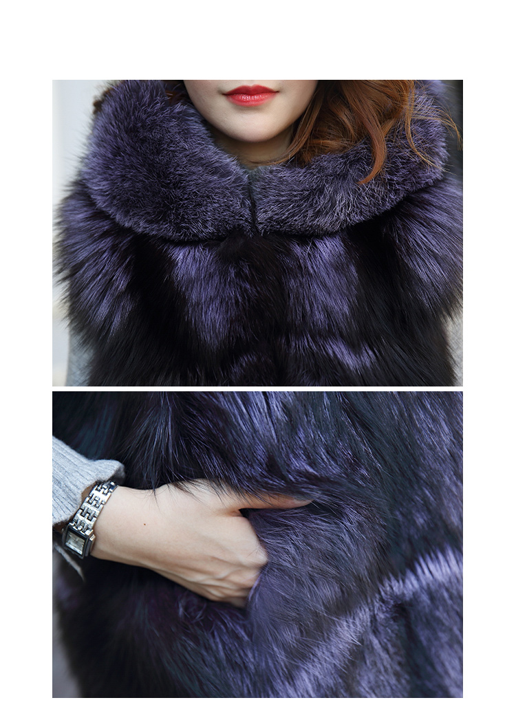 Hooded Fox Fur Vest 994 Details 6