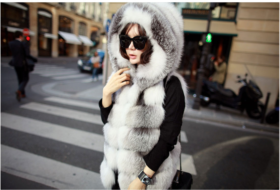 Shadow Blue Frost Fox Fur Vest with Hood 997 Details 1