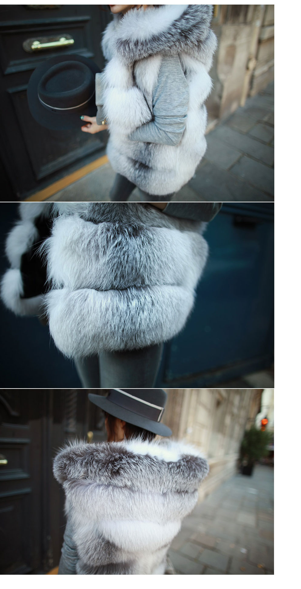 Shadow Blue Frost Fox Fur Vest with Hood 997 Details 10