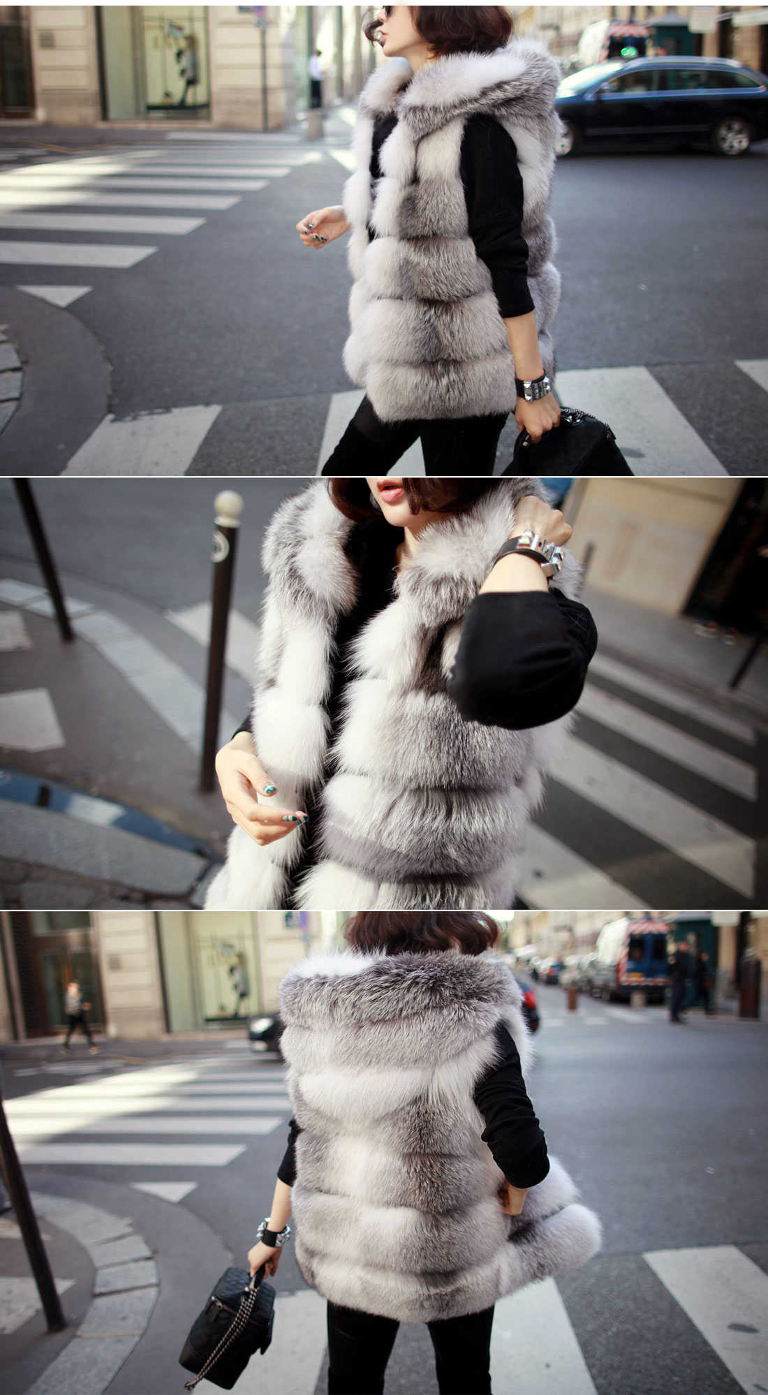 Shadow Blue Frost Fox Fur Vest with Hood 997 Details 3