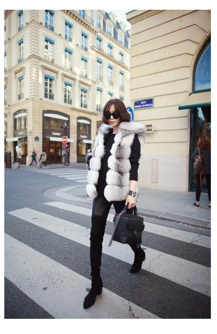 Shadow Blue Frost Fox Fur Vest with Hood 997 Details 4