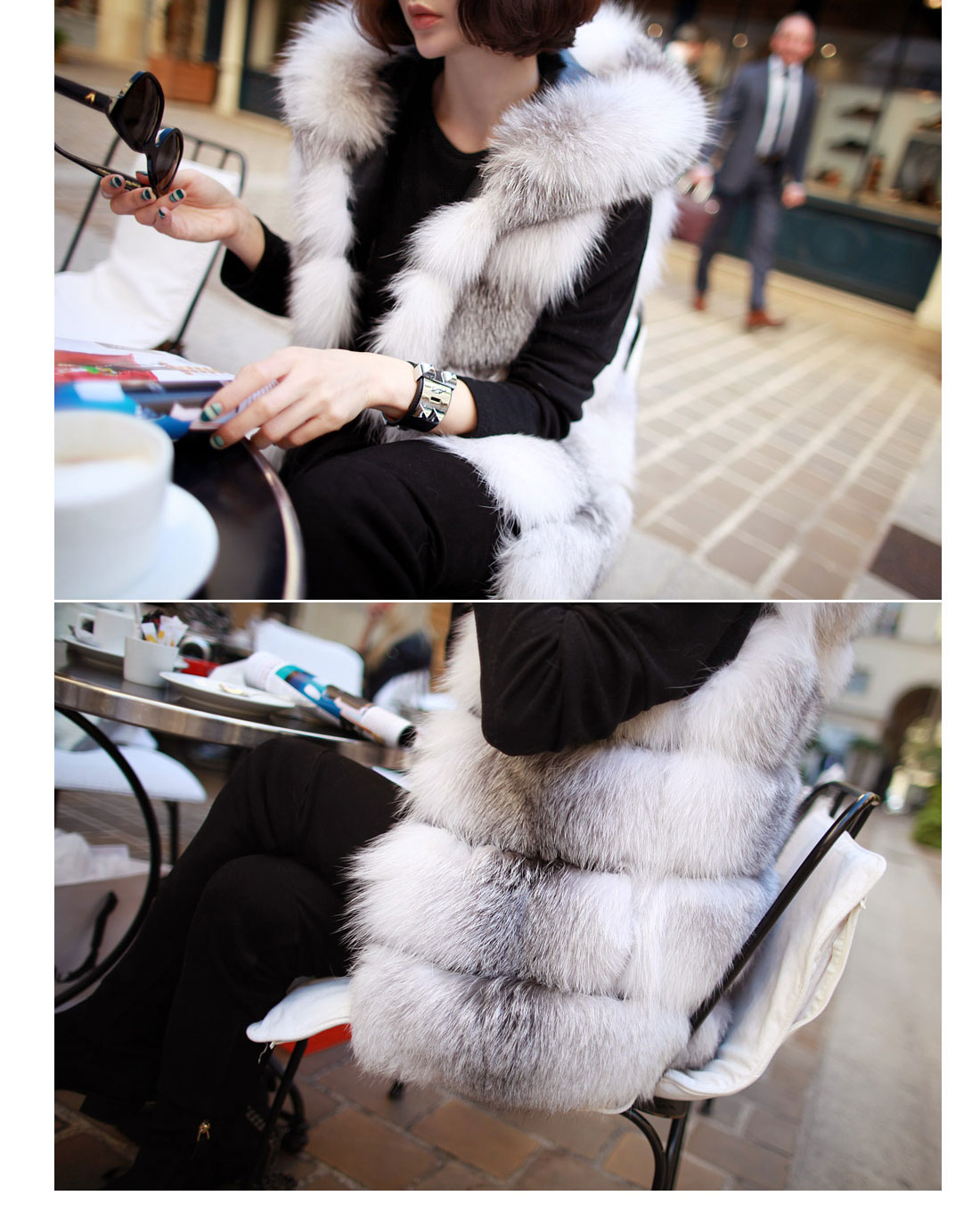 Shadow Blue Frost Fox Fur Vest with Hood 997 Details 6