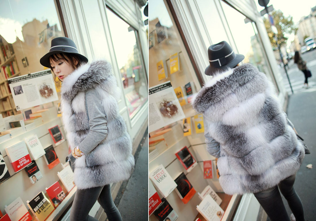 Shadow Blue Frost Fox Fur Vest with Hood 997 Details 8