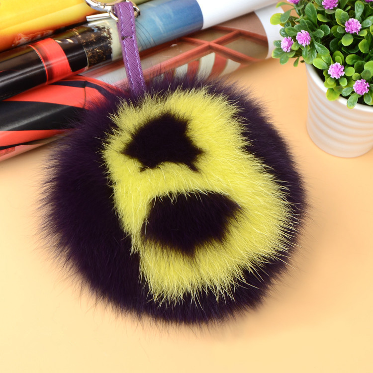 Fox Fur Pompoms Pendant Bag Charm with Letters 890 love B