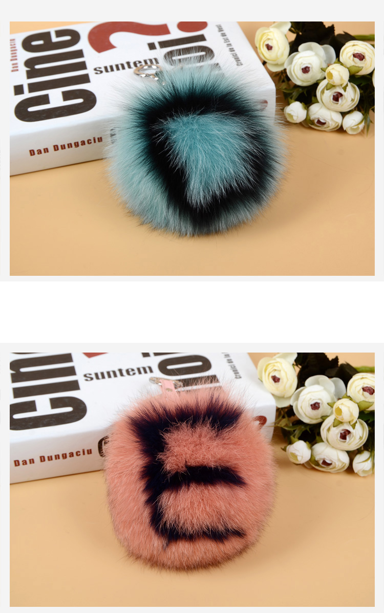 Fox Fur Pompoms Pendant Bag Charm with Letters 890 love DE