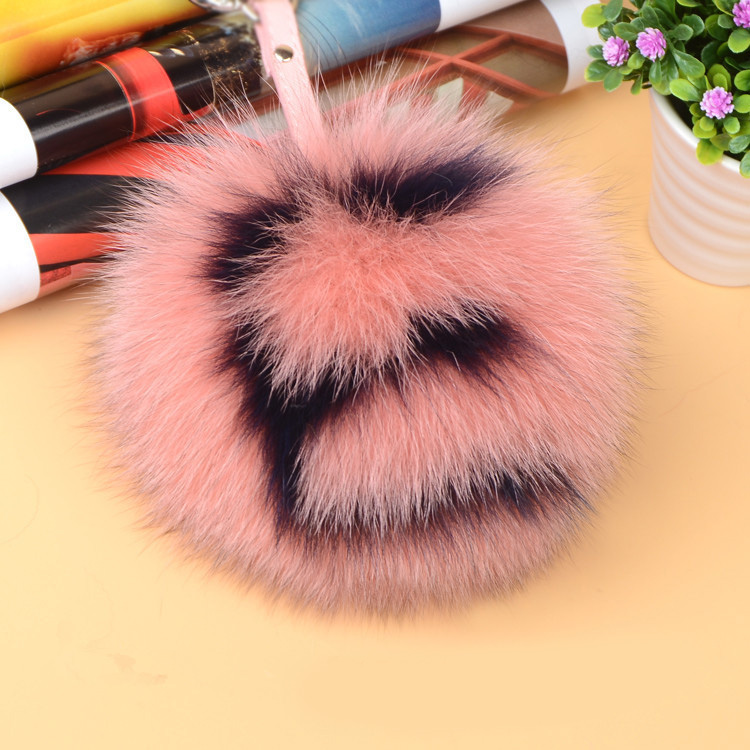 Fox Fur Pompoms Pendant Bag Charm with Letters 890 love E