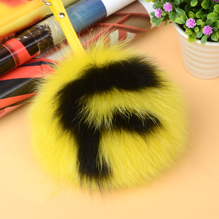Fox Fur Pompoms Pendant Bag Charm with Letters 890 love F
