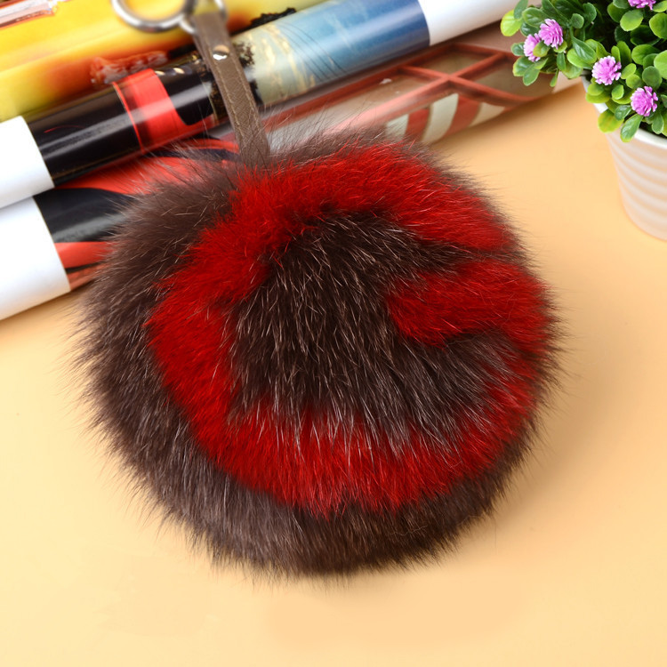 Fox Fur Pompoms Pendant Bag Charm with Letters 890 love G