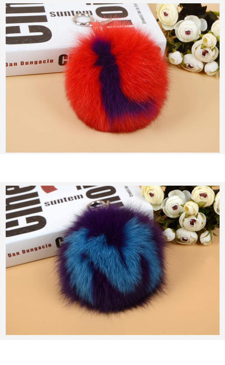 Fox Fur Pompoms Pendant Bag Charm with Letters 890 love LM