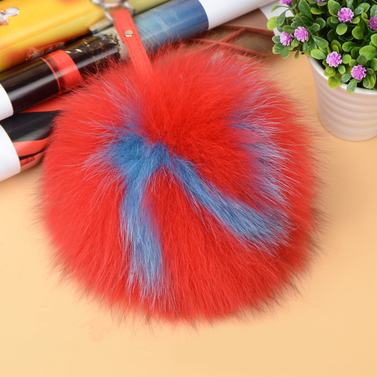 Fox Fur Pompoms Pendant Bag Charm with Letters 890 love N