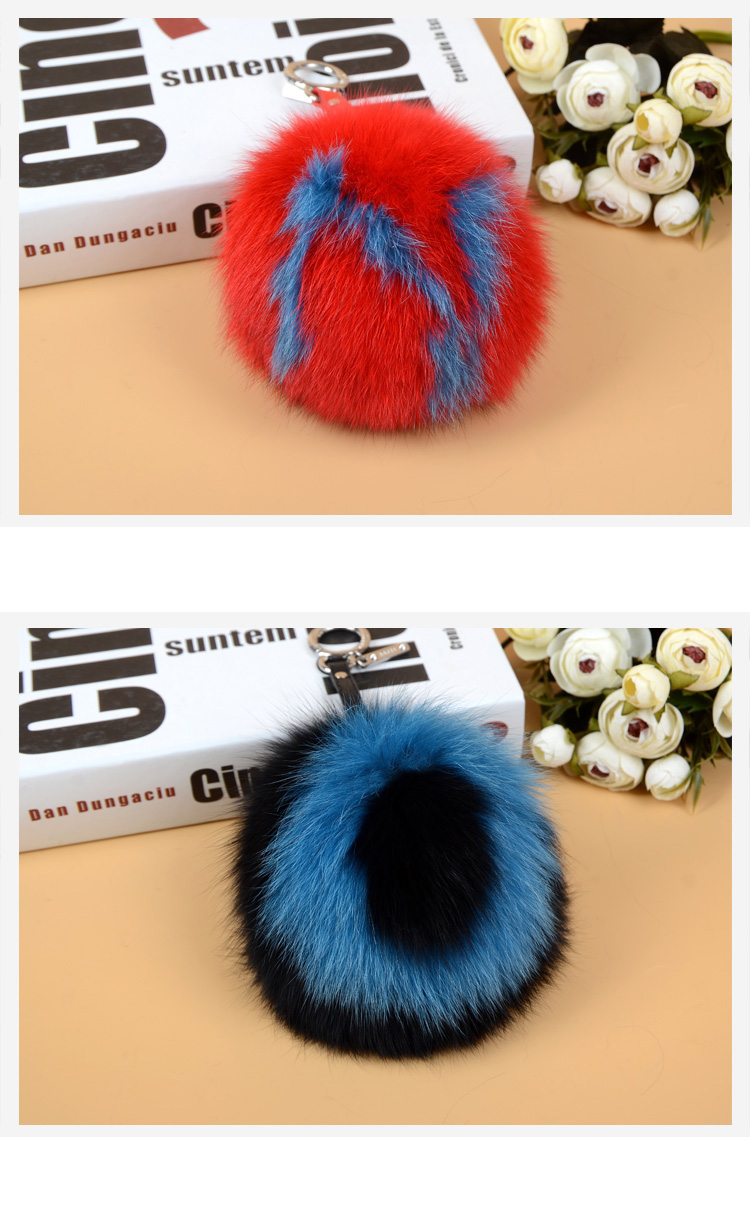 Fox Fur Pompoms Pendant Bag Charm with Letters 890 love NO