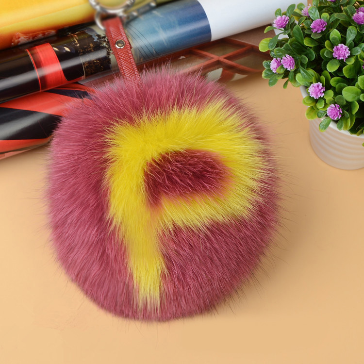 Fox Fur Pompoms Pendant Bag Charm with Letters 890 love P