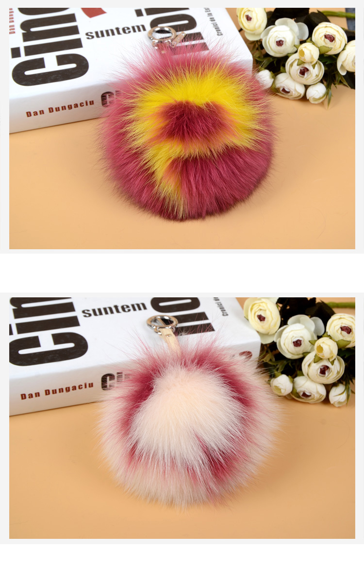 Fox Fur Pompoms Pendant Bag Charm with Letters 890 love PQ