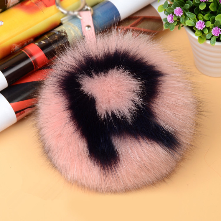 Fox Fur Pompoms Pendant Bag Charm with Letters 890 love R