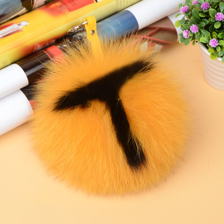 Fox Fur Pompoms Pendant Bag Charm with Letters 890 love T