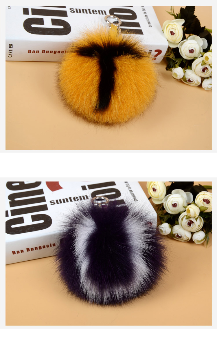 Fox Fur Pompoms Pendant Bag Charm with Letters 890 love TU