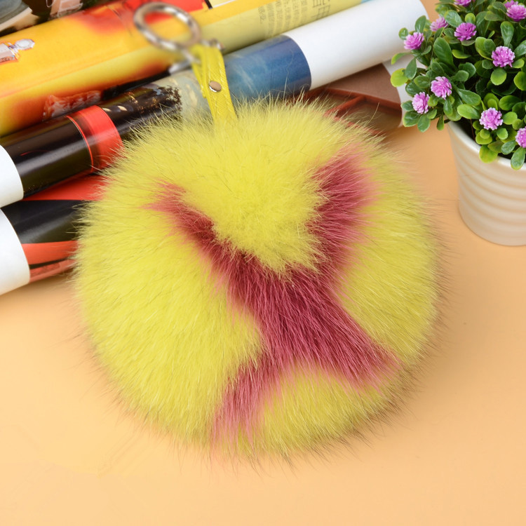 Fox Fur Pompoms Pendant Bag Charm with Letters 890 love X