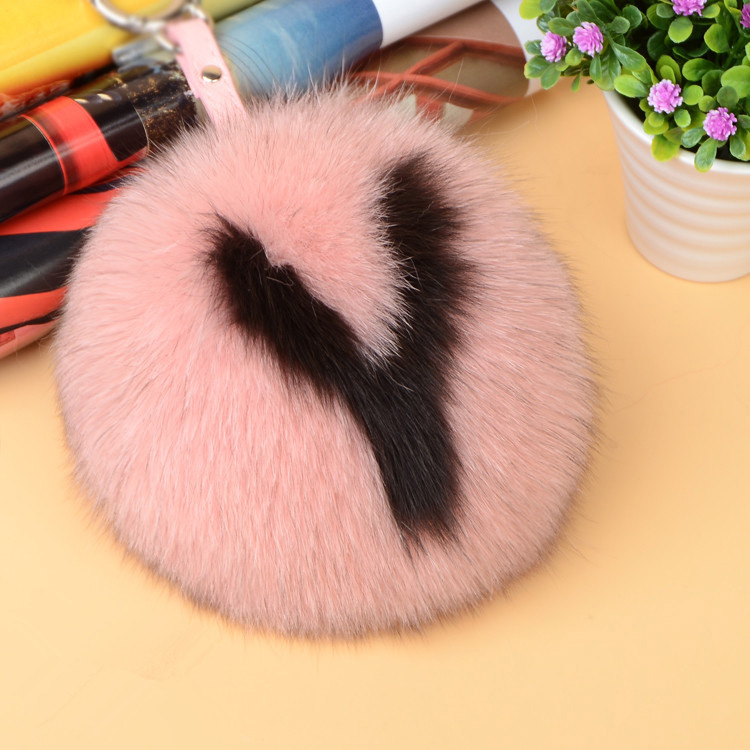 Fox Fur Pompoms Pendant Bag Charm with Letters 890 love Y