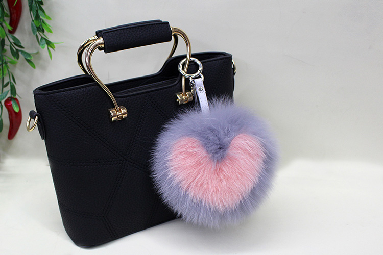 Fox Fur Pompoms Pendant Bag Charm 894 Details 1