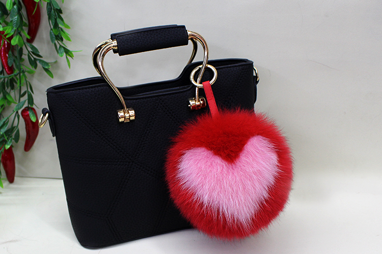 Fox Fur Pompoms Pendant Bag Charm 894 Details 2