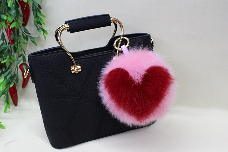 Fox Fur Pompoms Pendant Bag Charm 894 Details 3