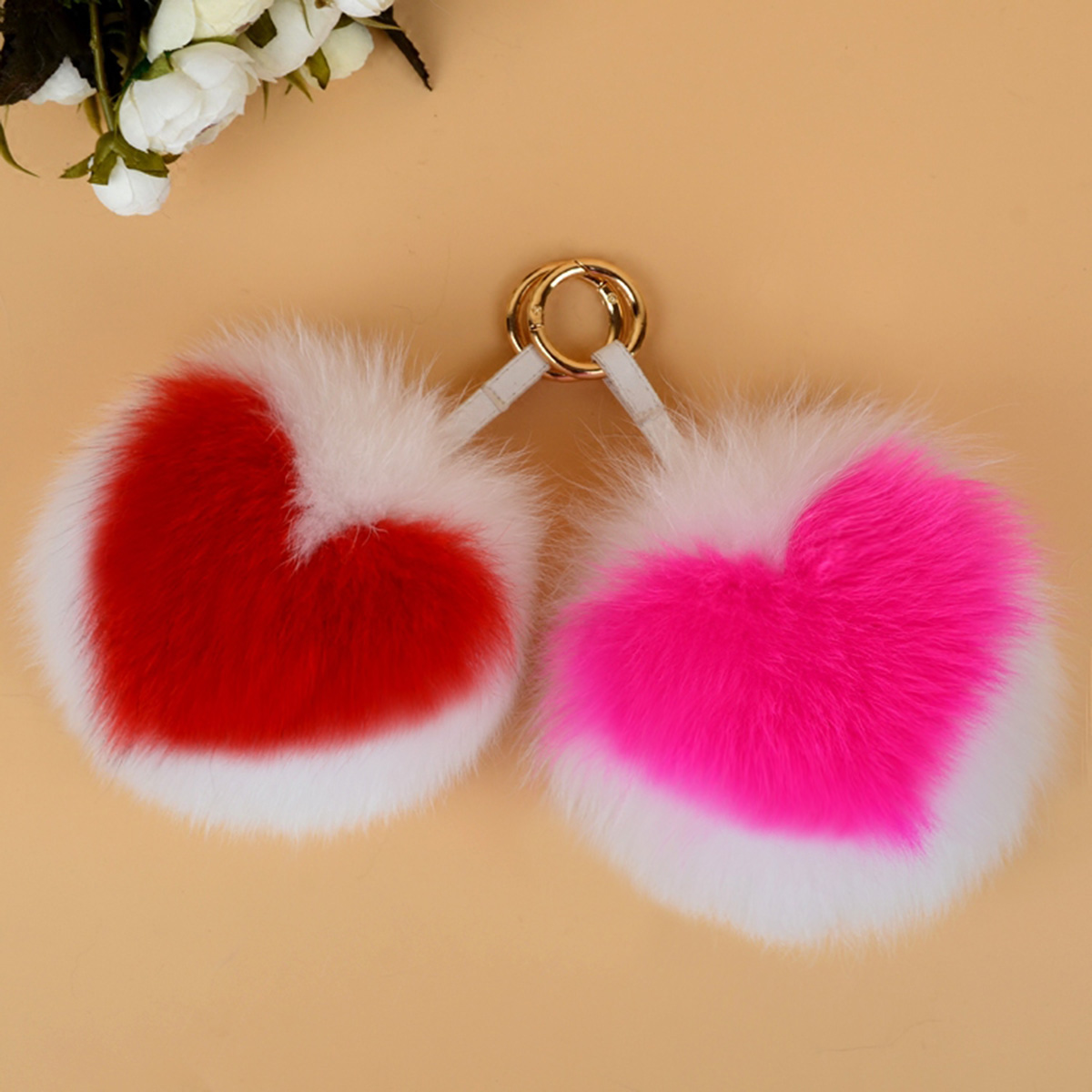 Fox Fur Pompoms Pendant Bag Charm 895 Details 1