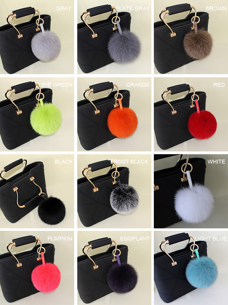 Fox Fur Pompoms Pendant Bag Charm 897 Details 1