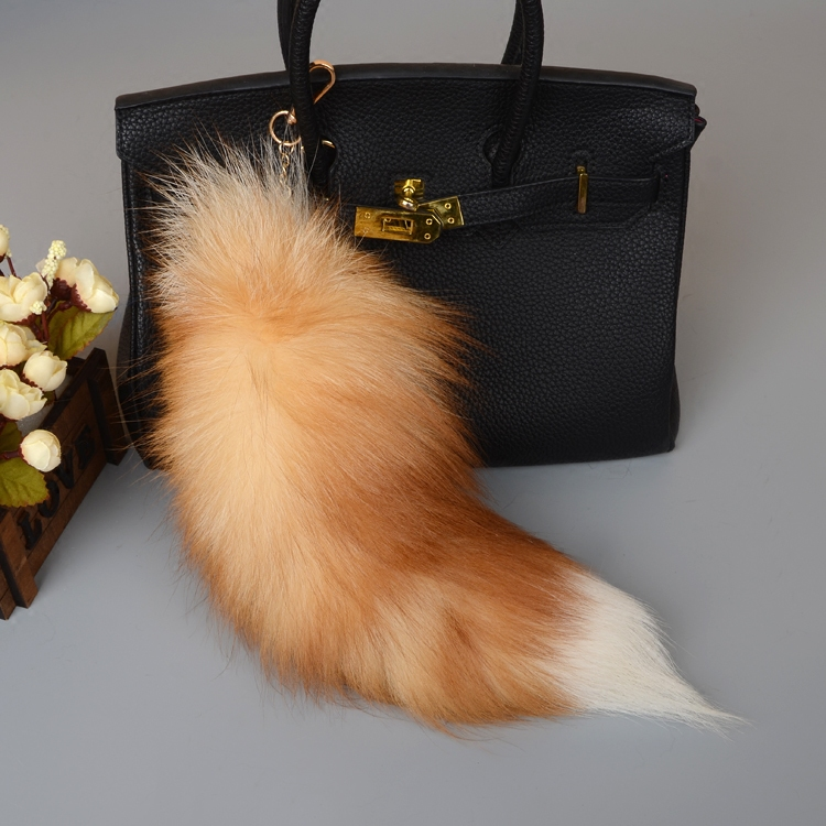 Fox Fur Tail Pendant Bag Charm 902 Details 1
