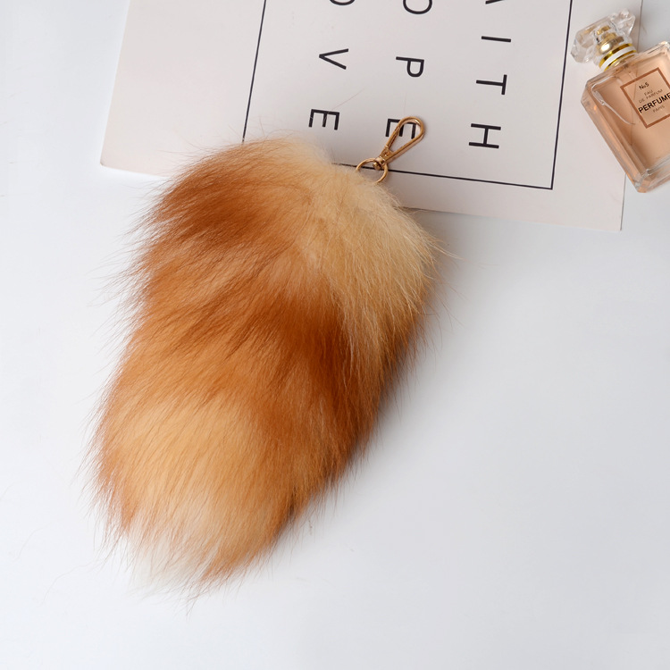 Fox Fur Tail Pendant Bag Charm 902 Details 2