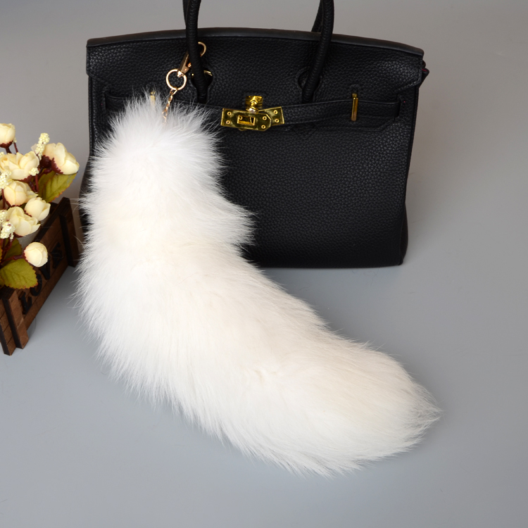 Fox Fur Tail Pendant Bag Charm 905 Details 1