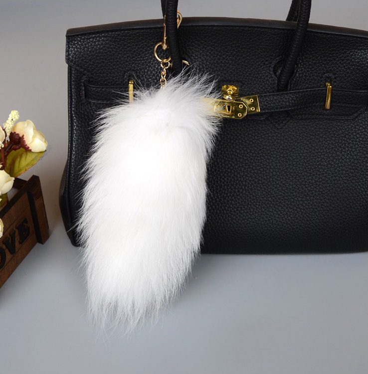 Fox Fur Tail Pendant Bag Charm 905 Details 3