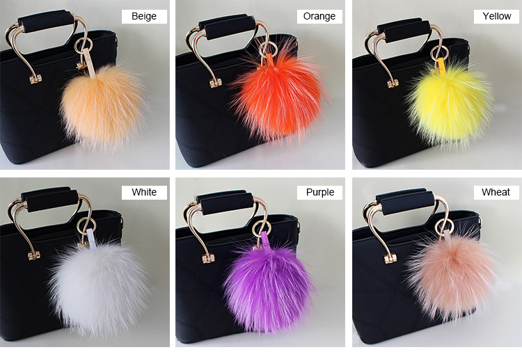 Raccoon Fur Pompoms Pendant Bag Charm 901 Details 1