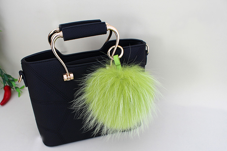 Raccoon Fur Pompoms Pendant Bag Charm 901 Details 11