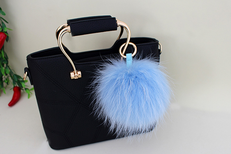 Raccoon Fur Pompoms Pendant Bag Charm 901 Details 14