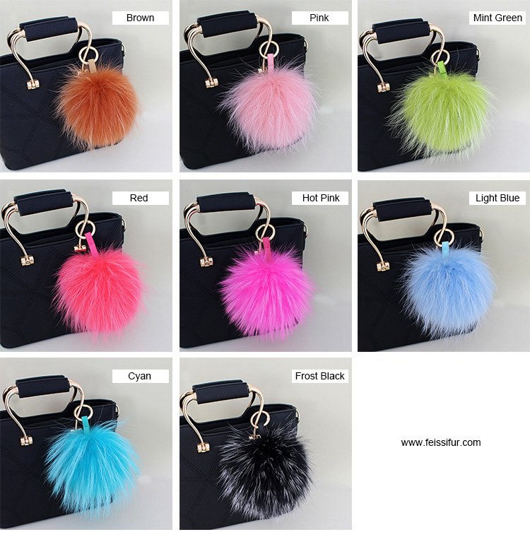 Raccoon Fur Pompoms Pendant Bag Charm 901 Details 2