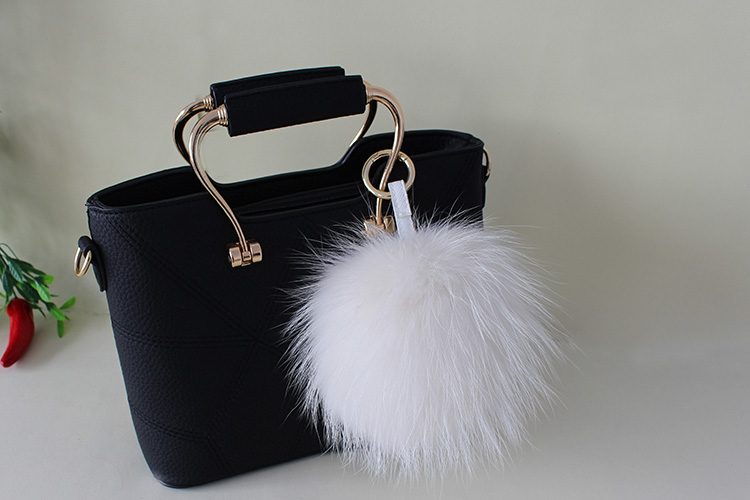 Raccoon Fur Pompoms Pendant Bag Charm 901 Details 6