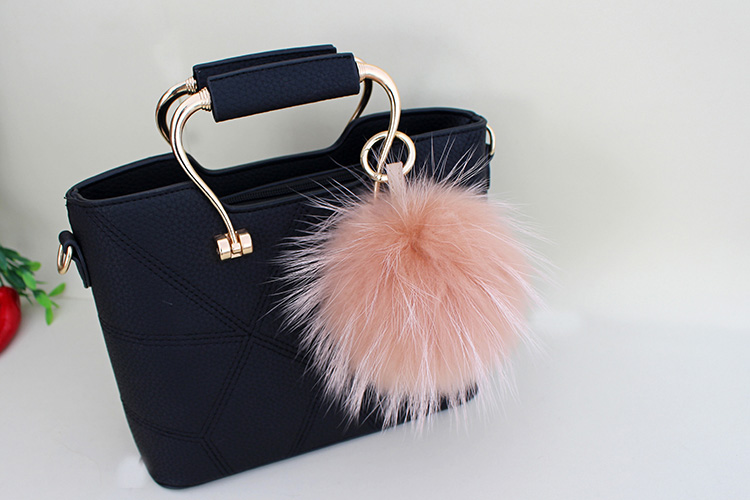 Raccoon Fur Pompoms Pendant Bag Charm 901 Details 8