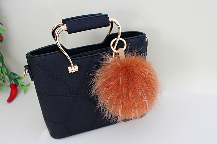 Raccoon Fur Pompoms Pendant Bag Charm 901 Details 9