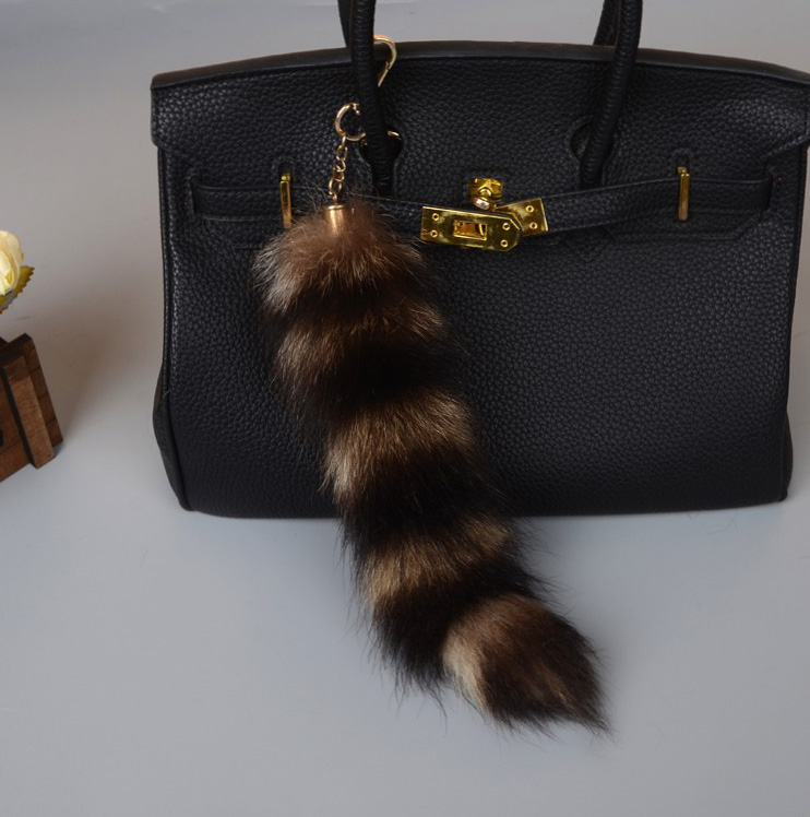 American Raccoon Fur Tail Pendant Bag Charm 909 Details 1