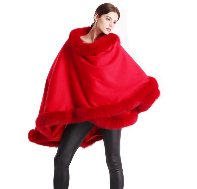 Cashmere Cape with Fox Fur Trim 663-2