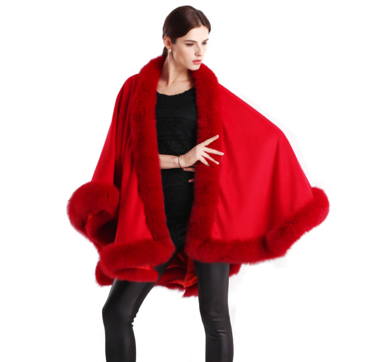 Cashmere Cape with Fox Fur Trim 663-3