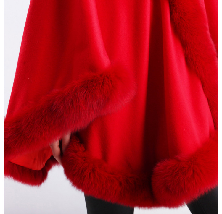 Cashmere Cape with Fox Fur Trim 663-4