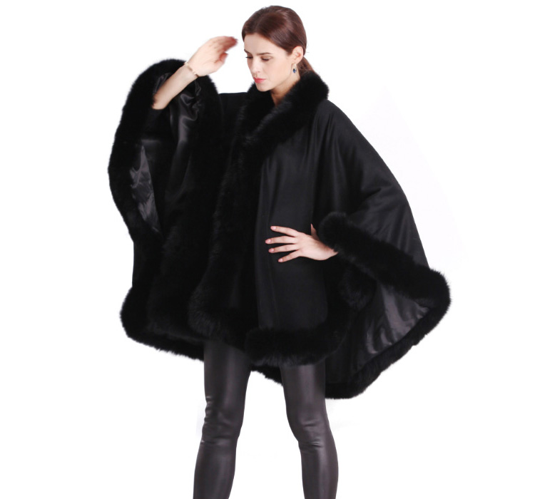 Cashmere Cape with Fox Fur Trim 663-5