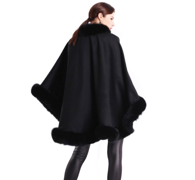 Cashmere Cape with Fox Fur Trim 663-6